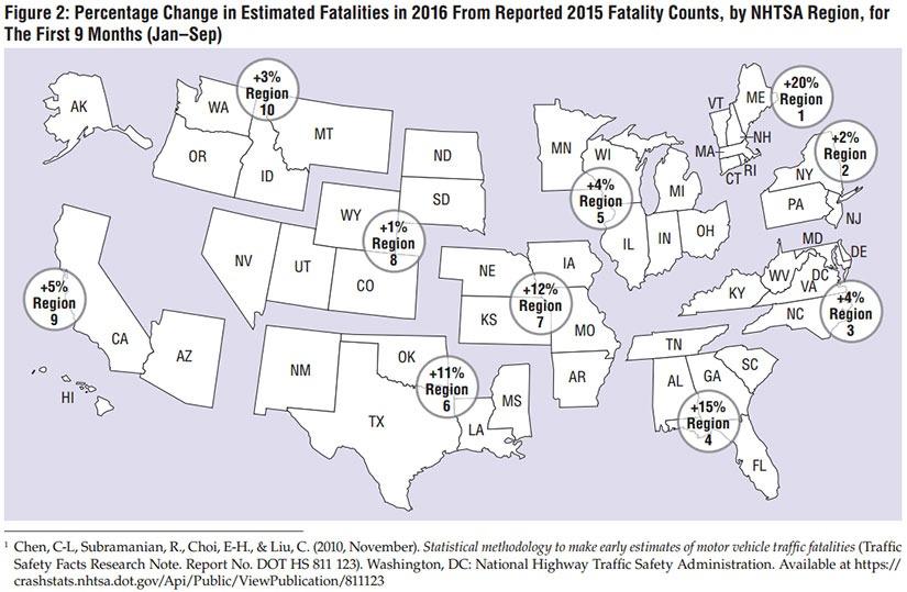 NHTSA 2016 Traffic Fatality Map