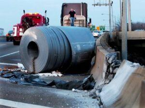 Fallen Truck Cargo on Highway